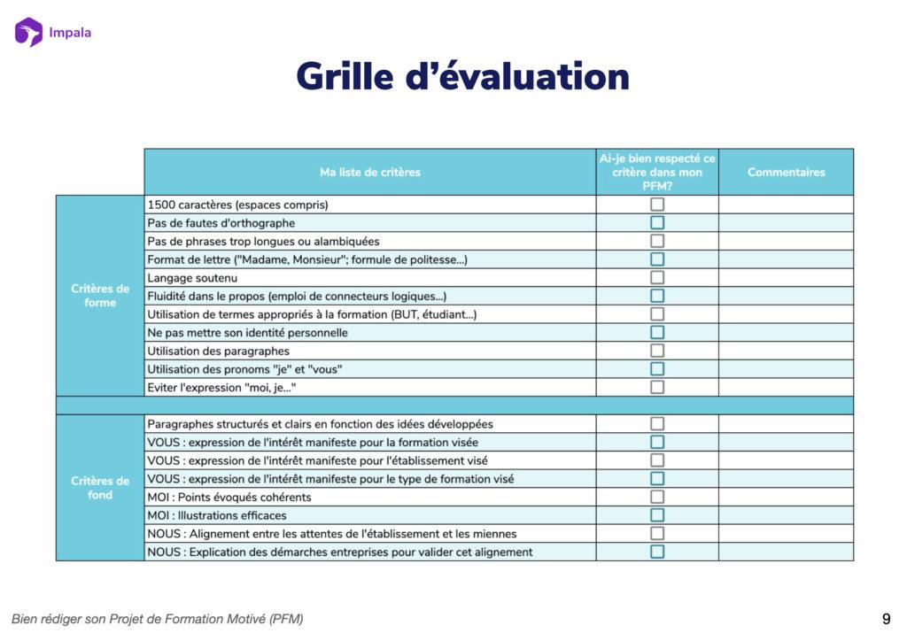 Grille d'évaluation projet de formation motivé