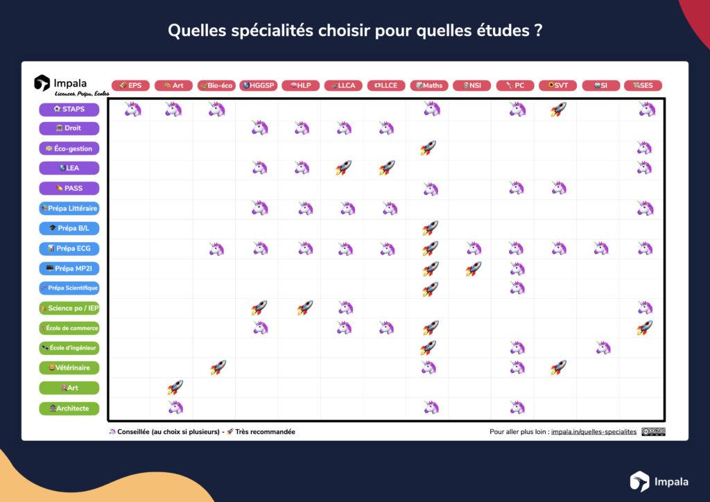 matrice quelles spécialités pour quelles  études ?